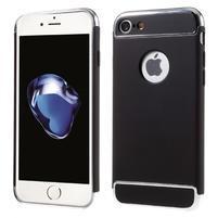 Hardy plastový odolný obal 3v1 na iPhone 7 a 8 - černý/stříbrný