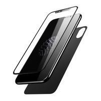 Base set přední a zadní tvrzené sklo na iPhone X - černý