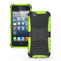 Outdoor odolný obal s výklopným stojánkem na iPod Touch 5 a iPod Touch 6 - zelený