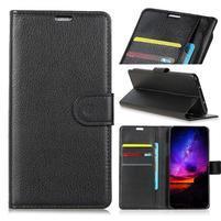 Litch PU kožené peněženkové pouzdro na Samsung Galaxy S10+ - černé