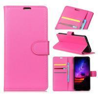 Litch PU kožené peněženkové pouzdro na Samsung Galaxy S10+ - růžové
