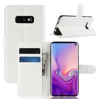 Litch PU kožené peněženkové pouzdro na Samsung Galaxy S10e - bílé