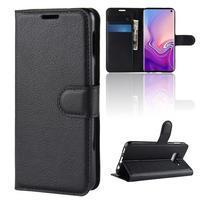 Litch PU kožené peněženkové pouzdro na Samsung Galaxy S10e - černé