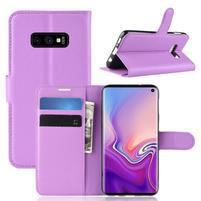 Litch PU kožené peněženkové pouzdro na Samsung Galaxy S10e - fialové
