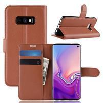 Litch PU kožené peněženkové pouzdro na Samsung Galaxy S10e - hnědé