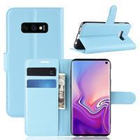 Litch PU kožené peněženkové pouzdro na Samsung Galaxy S10e - modré