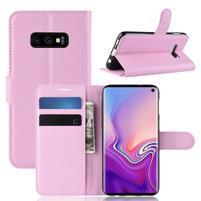 Litch PU kožené peněženkové pouzdro na Samsung Galaxy S10e - růžové