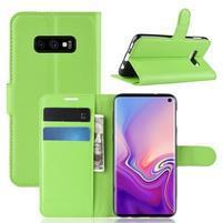 Litch PU kožené peněženkové pouzdro na Samsung Galaxy S10e - zelené