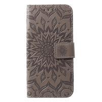 Mandala PU kožené peněženkové pouzdro pro Samsung Galaxy S10 - šedé