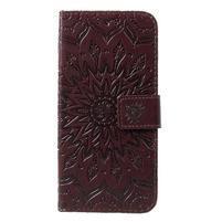 Mandala PU kožené peněženkové pouzdro pro Samsung Galaxy S10 - hnědé