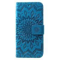Mandala PU kožené peněženkové pouzdro pro Samsung Galaxy S10 - modré