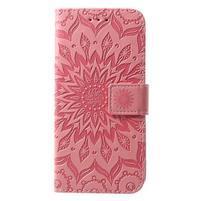 Mandala PU kožené peněženkové pouzdro pro Samsung Galaxy S10 - růžové
