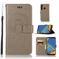 Owl PU kožené peněženkové pouzdro na Samsung Galaxy A9 - šedé
