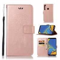 Owl PU kožené peněženkové pouzdro na Samsung Galaxy A9 - růžovozlaté