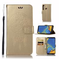 Owl PU kožené peněženkové pouzdro na Samsung Galaxy A9 - zlaté