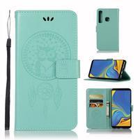 Owl PU kožené peněženkové pouzdro na Samsung Galaxy A9 - cyan