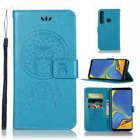 Owl PU kožené peněženkové pouzdro na Samsung Galaxy A9 - modré