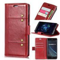 Crazy PU kožené peněženkové pouzdro na Samsung Galaxy A9 - červené