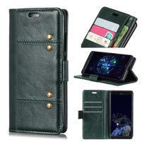Crazy PU kožené peněženkové pouzdro na Samsung Galaxy A9 - zelené