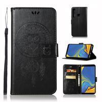 Owl PU kožené peněženkové pouzdro na Samsung Galaxy A9 - černé