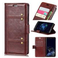 Crazy PU kožené peněženkové pouzdro na Samsung Galaxy A9 - hnědé