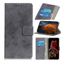Vintage PU kožené peněženkové pouzdro na Samsung Galaxy M30 - šedé