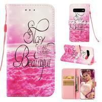Print PU kožené peněženkové pouzdro pro Samsung Galaxy S10+ - krása