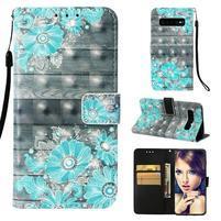 Print PU kožené peněženkové pouzdro pro Samsung Galaxy S10+ - modré květiny