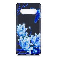 Printy gelový obal na mobil Samsung Galaxy S10 - modré květiny