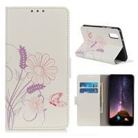 Patty PU kožené peněženkové pouzdro na Samsung Galaxy A50 - motýl a květina