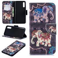 Stand PU kožené peněženkové pouzdro na Samsung Galaxy A50 - slon