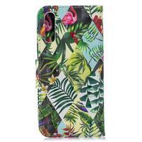 Stand PU kožené peněženkové pouzdro na Samsung Galaxy A50 - květiny a listy