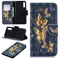 Stand PU kožené peněženkové pouzdro na Samsung Galaxy A50 - zlatý motýl