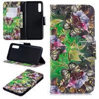 Stand PU kožené peněženkové pouzdro na Samsung Galaxy A50 - motýl a květina