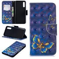Stand PU kožené peněženkové pouzdro na Samsung Galaxy A50 - modrý motýl