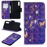 Stand PU kožené peněženkové pouzdro na Samsung Galaxy A50 - fialový motýl