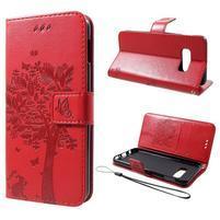 Tree PU kožené peněženkové pouzdro pro Samsung Galaxy S10e - červené