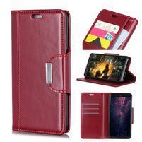 Wallet PU kožené peněženkové pouzdro na mobil Samsung Galaxy S10+ - červené