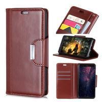Wallet PU kožené peněženkové pouzdro na mobil Samsung Galaxy S10+ - hnědé