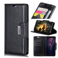 Wallet PU kožené peněženkové pouzdro pro Samsung Galaxy S10 - černé