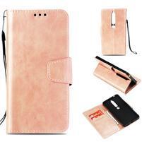 Vintage PU kožené flipové pouzdro pro Nokia 6.1 - růžovozlaté