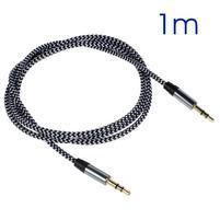 Tkaný prodlužovací audio kabel jack/jack o délce 1m - černý