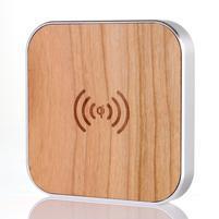 Wood bezdrátová nabíječka pro mobilní zařízení - stříbrný lem