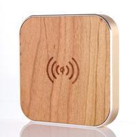 Wood bezdrátová nabíječka pro mobilní zařízení - zlatý lem
