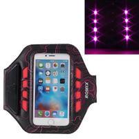 RX7 LED svítící sportovní pouzdro na ruku pro telefony do 145*70 mm - rose