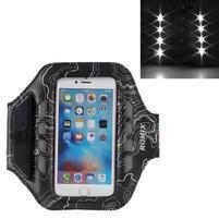 RX7 LED svítící sportovní pouzdro na ruku pro telefony do 145*70 mm - černé