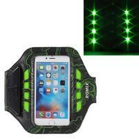 RX7 LED svítící sportovní pouzdro na ruku pro telefony do 145*70 mm - zelené