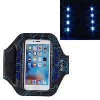 RX7 LED svítící sportovní pouzdro na ruku pro telefony do 165*85 mm - modré