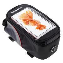 Prostorná brašna na kolo pro mobilní telefony do rozměru 158,1 x 78 x 7,1 mm - červený lem