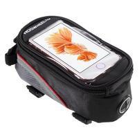 Prostorná brašnička na kolo na mobil do rozměru 124 x 59 x 7,6 mm - červený lem